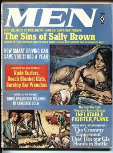 Men Magazine February 1966-NUDE SURFERS-CRIME-COPELAND-NOREM ART VG-