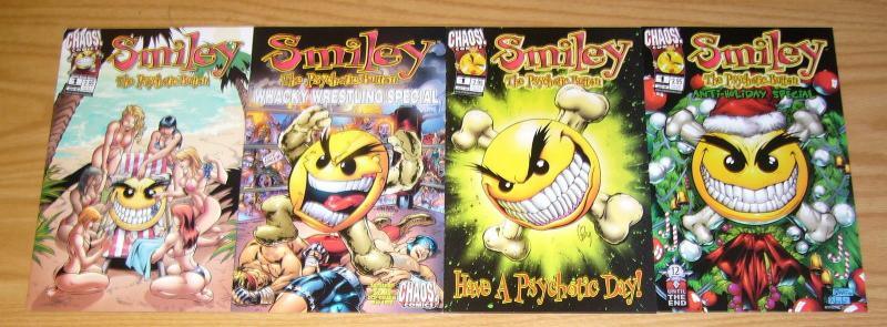 Smiley the Psychotic Button #1 VF/NM one-shot + holiday + spring + wrestling (4)