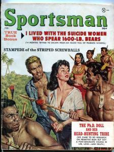Sportsman February 1962-HEADHUNTER COVER-EARL NOREM ART VG