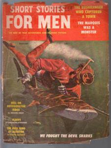 Short Stories For Men 8/1959-shark cover-pulp stories-Theodore Sturgeon-FR