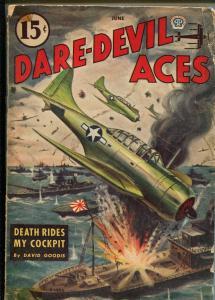 DARE-DEVIL ACES 6/1945-DAVID GOODIS-CANADIAN VARIANT-RARE-vg minus