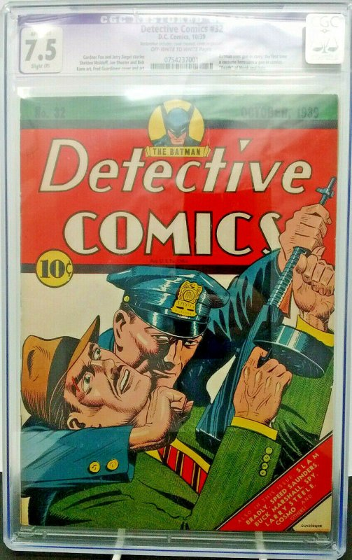 Detective Comics #32 ~ DC ~ CGC 7.5 ~ Highest Graded Restored Copy