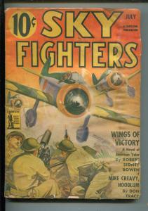 SKY FIGHTERS 7/1942-AIR WAR PULP-THRILLS-WWII-BELARSKI-JAPANESE ZEROS-good minus