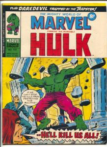 Mighty World Of Marvel #133 1975- British comic-Hulk- Daredevil