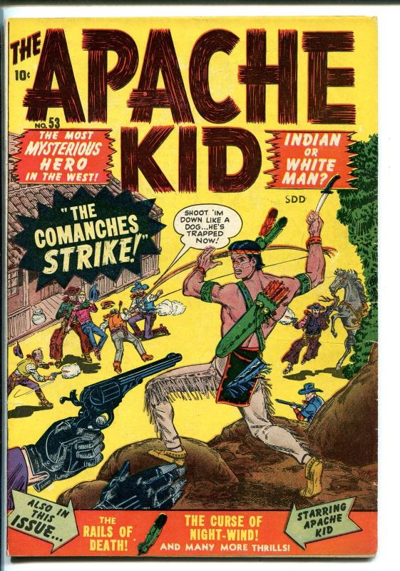 APACHE KID #53 1950-ATLAS-ORIGIN & 1ST ISSUE-CANADIAN VARIANT-RARE-vf minus