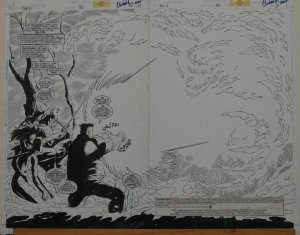 RON LIM / CHRIS IVY original art, SOVEREIGN SEVEN 30, Double Splash pgs #2-3