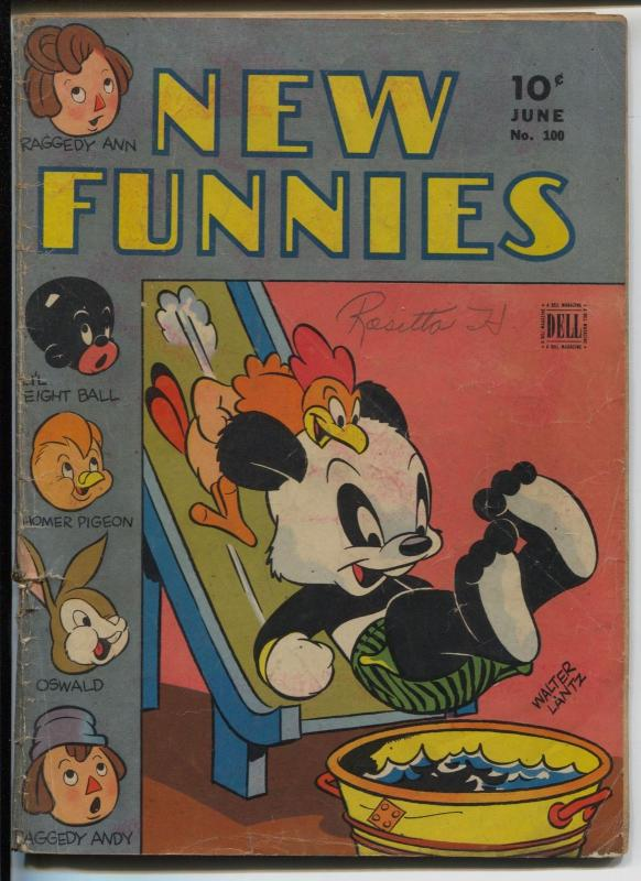 New Funnies #100 1945-historic 100th issue-Andy Panda-VG-