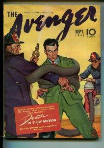 Avenger 9/1941-hero pulp-firemen cover-Death In Slow Motion-FN