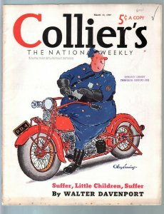 Colliers 3/13/1937-motorcycle cop cover by Jay Irving-Haycox-Nebel-VG/FN