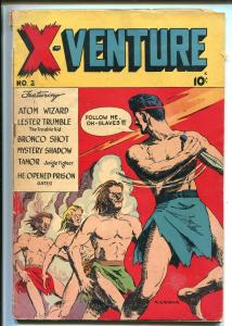 X-VENTURE #2 1947-VICTORY MAGS-ATOM WIZARD-TAMOR JUNGLE FIGHTER-ROBOT-vg