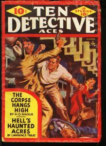TEN DETECTIVE ACES NOV 1941 PULP-SAUNDERS ART G/VG
