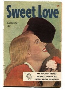 SWEET LOVE #1 1949-HARVEY-FIRST ISSUE-PHOTO COVER-LINGERIE PANELS- vg+