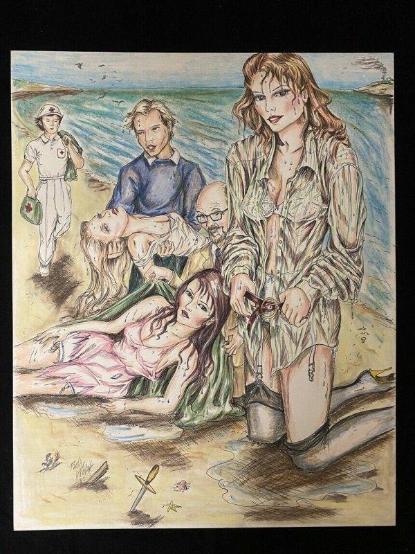 Senorita Original Rio Pin Up by Paula Wolak - beach scene 1980