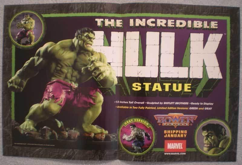 INCREDIBLE HULK STATUE Promo poster, 17x11, Unused, more Promos in store