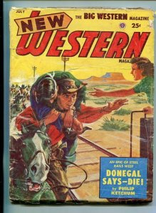 NEW WESTERN-JULY 1953-VIOLENT PULP FICTION-TRAIN COVER-KETCHUM-good minus