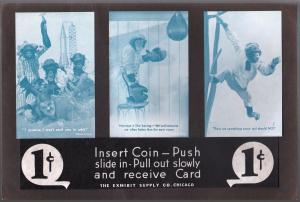 Arcade Card Display-Exhibit Supply Co-1940's-monkey cards-rocket ship-VG