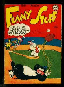 Funny Stuff #15 1946- DC Funny Animals- Flash Parody- Baseball- VG