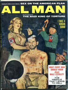 All Man Magazine May 1961- Nazi torture cover- tattoo needle diseases F/VF