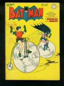 BATMAN #29-1945-DC COMICS-ROBIN-NICE COPY-BICYCLE COVER FN/VF