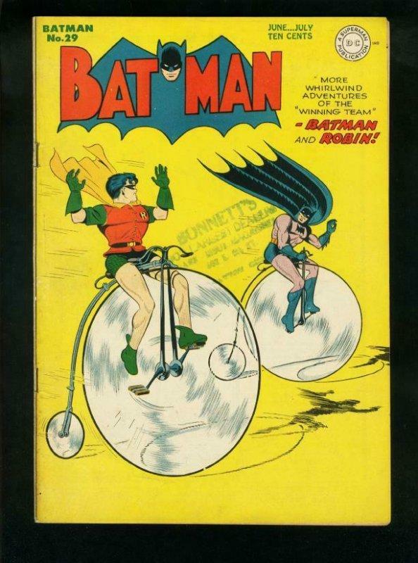 BATMAN #29-1945-DC COMICS-ROBIN-NICE COPY-BICYCLE COVER FN/VF