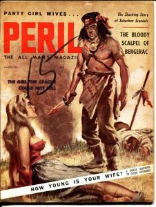 PERIL-MAR 1960-INDIAN SCALPER-CRIME VIOLENCE-TIMES SQUARE-CHEESE CAKE-vg.