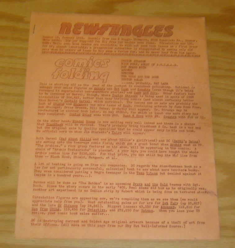 Newfangles #18 FN january 1969 fanzine - don thompson  maggie thompson very rare