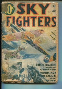 SKY FIGHTERS 9/1941-AIR WAR PULP-THRILLS-WWII-GERMAN BOMBER-fr/good