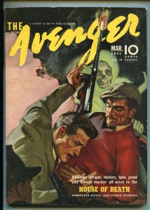 THE AVENGER 03/1941-HOUSE OF DEATH-MYSTERY-MURDER-PULP-vf