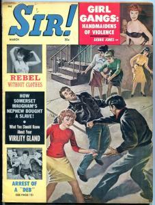 Sir! Magazine March 1962-DEBBIE JONES-GANG FIGHT COVER FN-