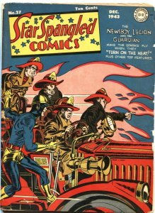 STAR SPANGLED #27-1943-SIMON & KIRBY-LIBERTY BELLE-FIRE TRUCK COVER-DC-WW II
