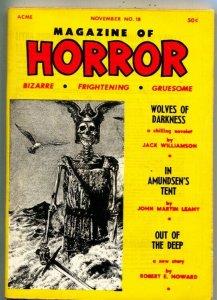 MAGAZINE OF HORROR-BIZARRE-GRUESOME-PULP--ROBERT E HOWARD-NOV 1967