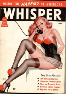 Whisper 3/1948-Harrison-Peter Driben cover-Black Dahlia-cheesecake-spanking-VG+