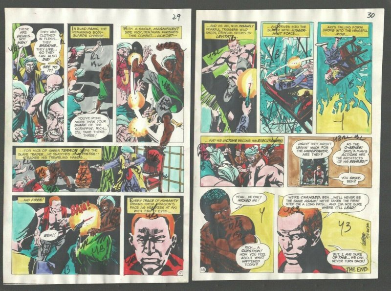 Richard Dragon Kung Fu Fighter Original Color Guide Sheets #1 1975-DC-1st iss...