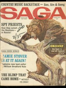 SAGA FEB 1964-WILD GRIZZLY COVER-SPY PRIESTS-BLIMPS WAR G/VG