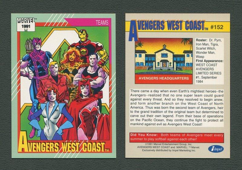 1991 Marvel Comics II  Card  #152 ( Avengers West Coast )  MINT