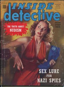 Inside Detective 1/1942-Dell-exploitation-WWII-nudism menace-Nazi-VG