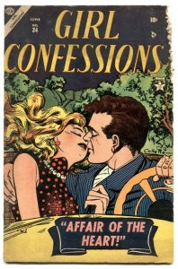 Girl Confessions #34 1954- Car kiss cover G