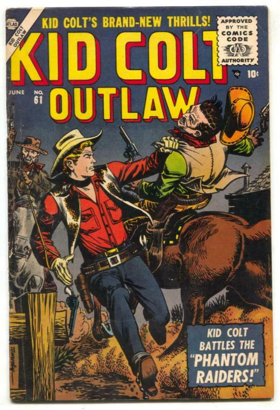 Kid Colt Outlaw #61 1956- Phantom Raiders- Atlas Western FN-