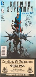 Batman Superman #1 The New 52 Signed By Greg Pak W/ COA