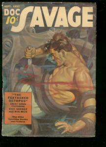 DOC SAVAGE PULP-SEPT 1937-FEATHERED OCTOPUS-BATTLE COVR G