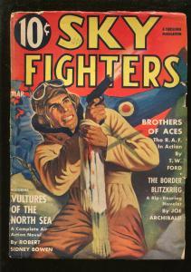 SKY FIGHTERS 3/1941-AIR WAR PULP-THRILLS-PISTOL-WWII -good