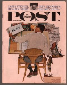 Saturday Evening Post 9/16/1961-John D MacDonald pulp fiction-Casey Stengel-JFK-