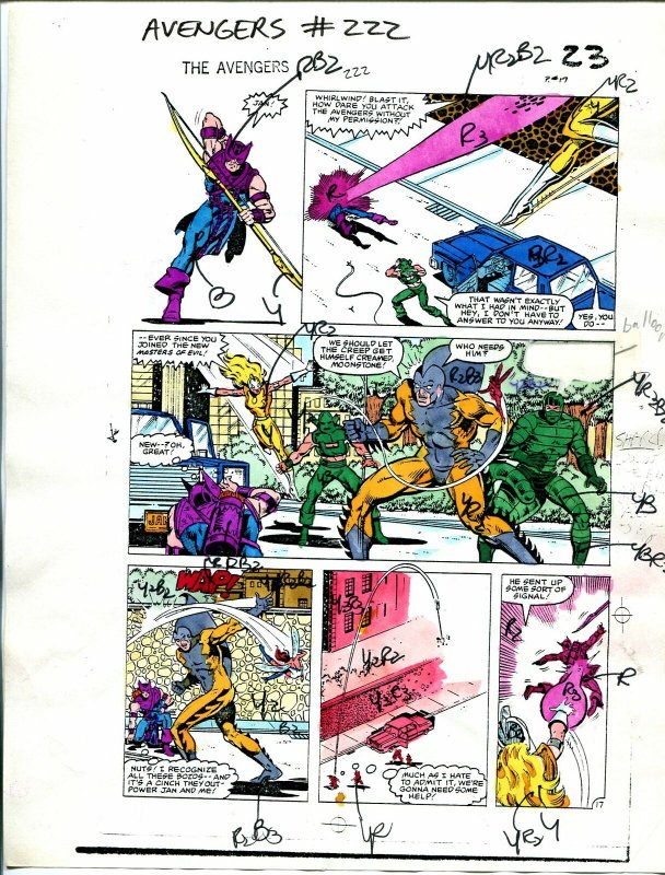 Avengers #222 1982 Hand Painted  Colorguide Page 17-Tiger Shark, Hawkeye-VG