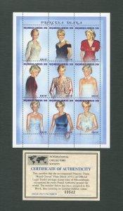 Princess Diana Royal Gown Commemorative Stamp Sheet  1998