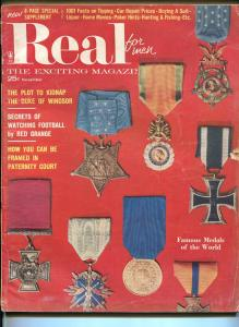 Real For Men 11/1957-War II-Red Grange-football-Nazis-famous medals-VG