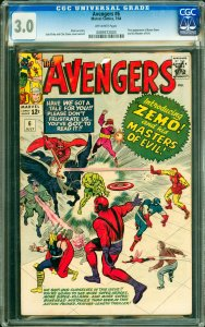 Avengers #6 CGC Graded 3.0 First appearance of Baron Zemo and his Masters of ...