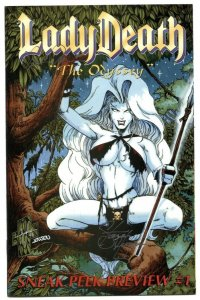 Lady Death Odyssey #1 1996- triple signed with COA- NM