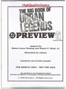 BIG BOOK of URBAN LEGENDS, Black White Promo, 1994, VF/NM, Preview,more in store