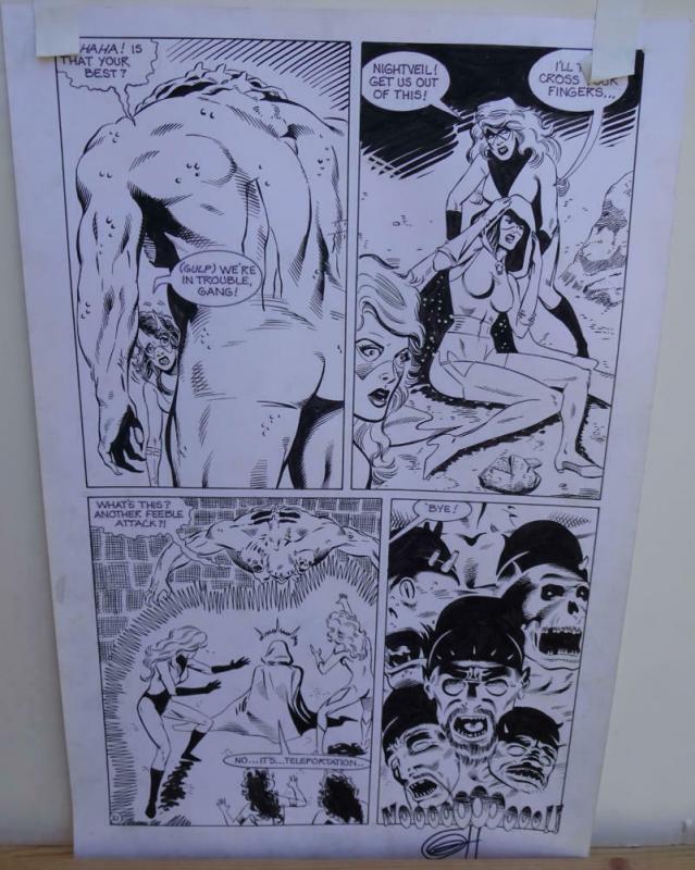 GREG HORN original art, FEMFORCE HOUSE OF HORROR #1 pg 21, Signed, Fight, 1989