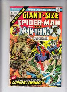 Giant-Size Spider-man and Man-Thing #5 (Jul-75) FN/VF+ High-Grade Spider-Man